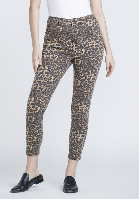 Women's Leopard Print Ankle Skinny Jeans