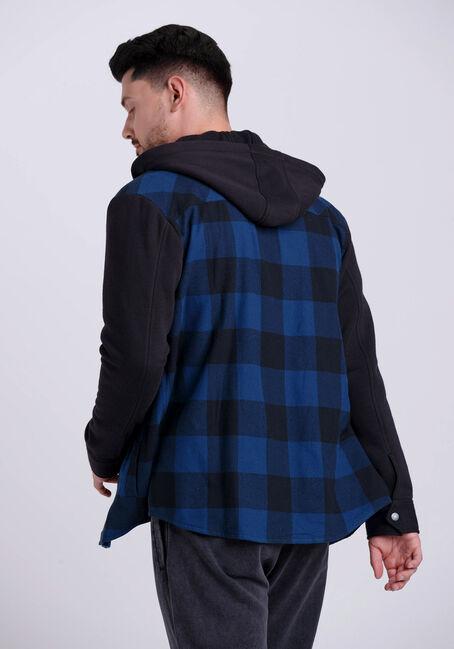Men's Hooded Flannel Shirt, BLUE, hi-res