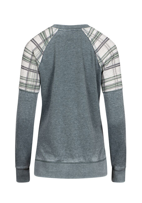 Women's Plaid Insert Crew Neck Fleece, FOREST, hi-res