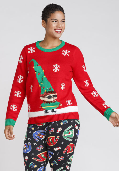 Women's Elf Light Up Holiday Sweater, RED, hi-res