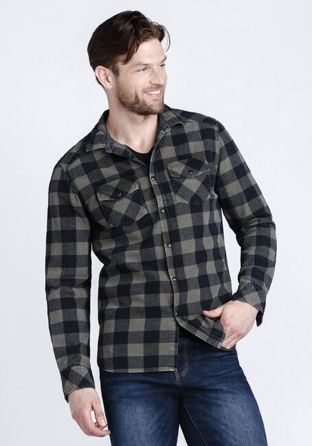 Men's Vintage Buffalo Plaid Shirt, DARK OLIVE, hi-res