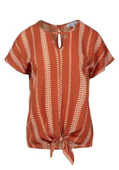 Women's Dot Print Tie-Front Tee, RUST, hi-res