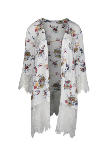 Women's Lace Insert Floral Kimono, WHITE, hi-res
