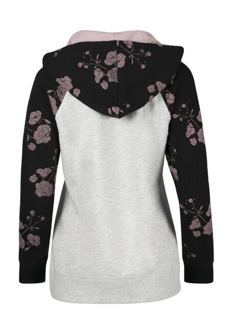 Ladies' Floral Zip Hoodie, ROSEWATER, hi-res