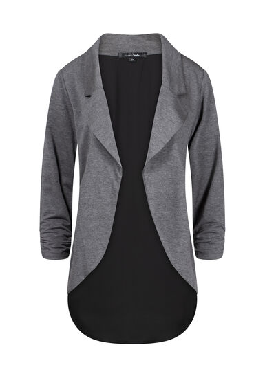 Women's Two-Tone Chiffon Back Blazer, CHARCOAL, hi-res