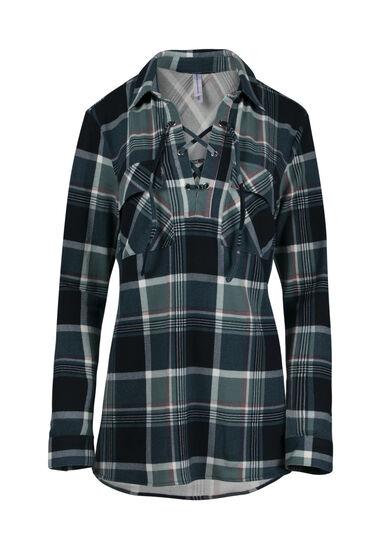 Women's Lace Up Knit Plaid Shirt, NAVY, hi-res