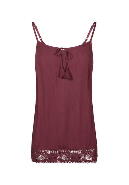 Women's Crochet Trim Peasant Tank