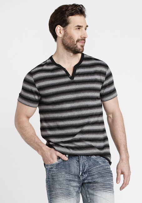 Men's Everyday Striped V-Neck Tee, BLACK, hi-res