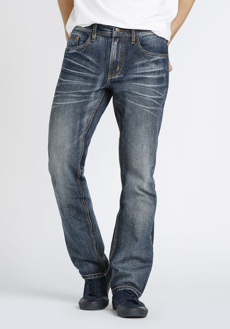 Men's Dark Vintage Wash Straight Jeans