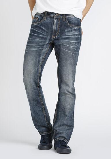 Men's Dark Vintage Wash Straight Jeans, DARK WASH, hi-res