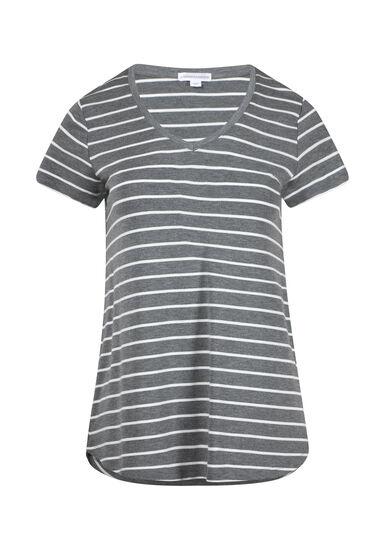 Women's Stripe V-Neck Tee, HEATHER GREY, hi-res
