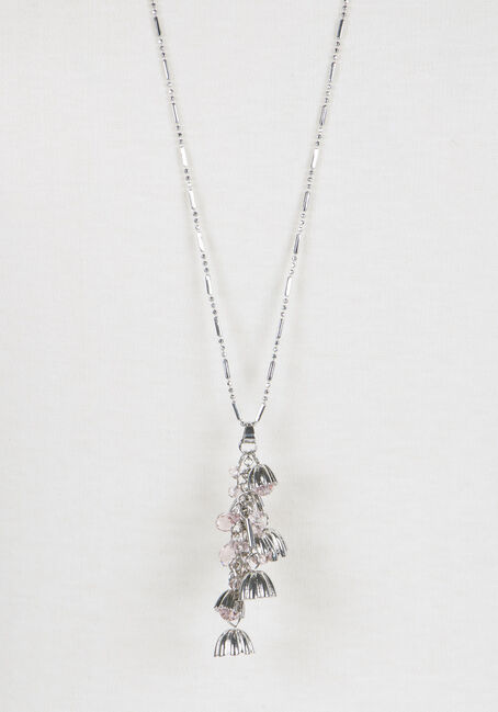 Ladies' Waterfall Flower Charm Necklace, RHODIUM, hi-res