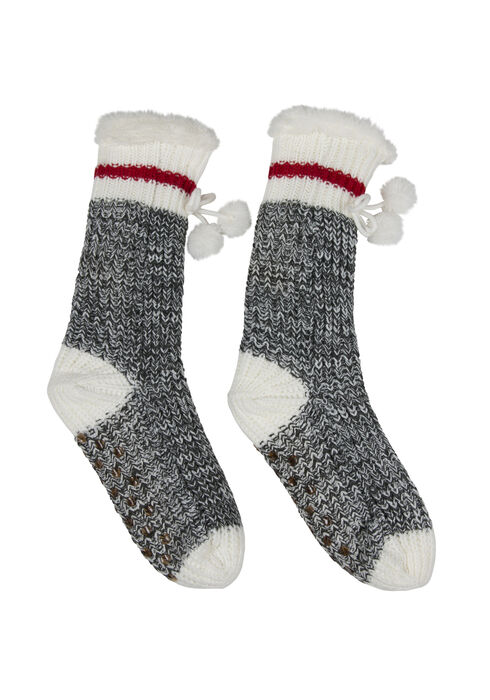 Ladies' Cabin Slipper Sock, RED, hi-res