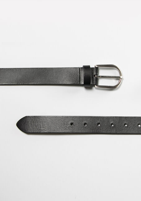 Women's Essential Leather Belt, BLACK, hi-res