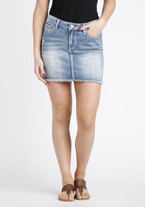 Women's Distressed Denim Skirt, LIGHT WASH, hi-res