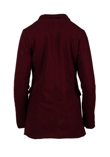 Ladies' Wool  Coat, BURGUNDY, hi-res