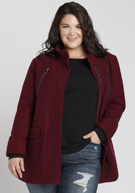 Ladies' Plus Size Wool Coat, BURGUNDY, hi-res