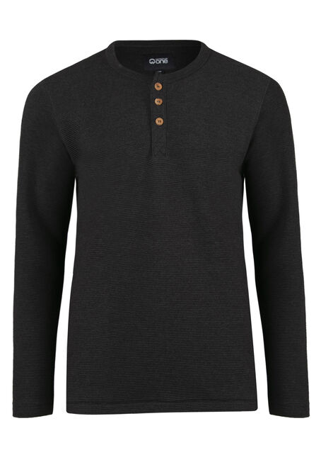 Men's Rib Knit Henley Top