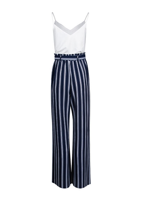 Women's Striped Paperbag Waist Jumpsuit, NAVY/WHT, hi-res