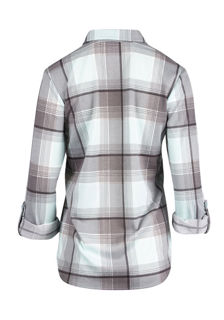 Ladies' Relaxed Fit Knit Plaid Shirt, AQUA, hi-res