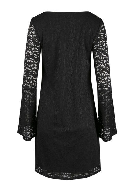 Ladies' Lace Bell Sleeve Dress, BLACK, hi-res