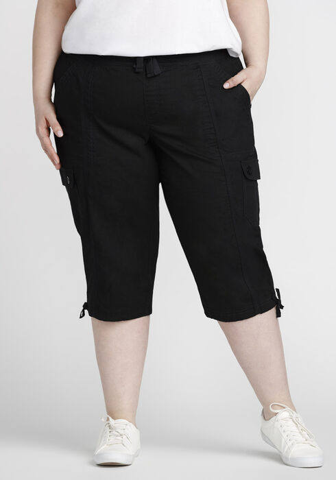 Women's Plus Size Cargo Capri, BLACK, hi-res