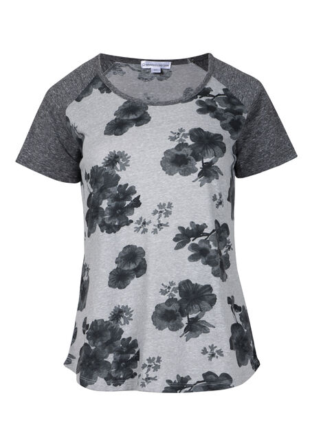 Womens' Muted Floral Baseball Tee