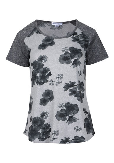 Womens' Muted Floral Baseball Tee, LT GREY, hi-res