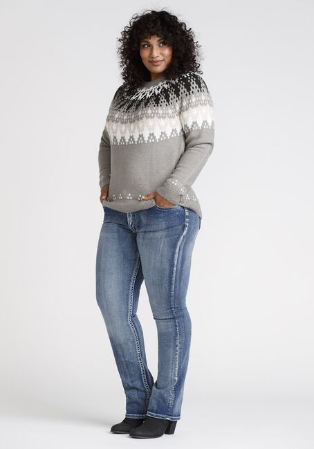 Women' Fairisle Crewneck, GREY, hi-res