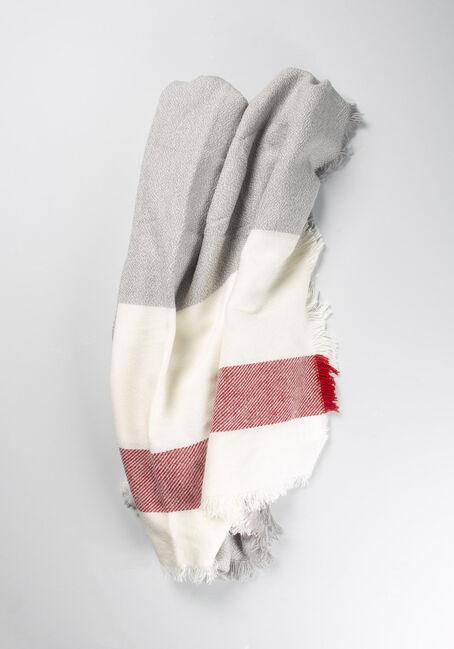 Women's Cottage Blanket Scarf, GREY/RED, hi-res