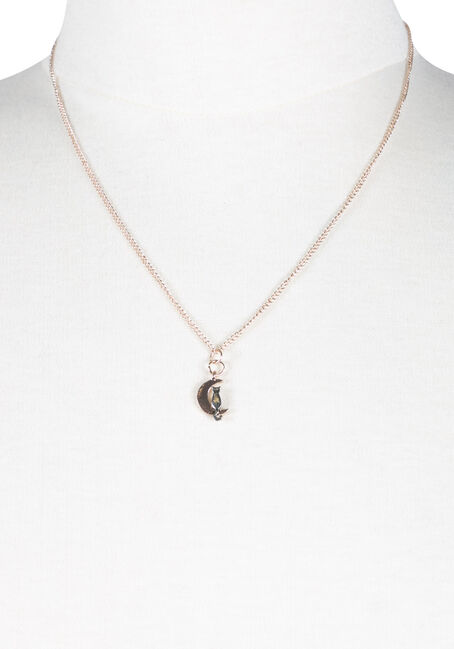 Ladies' Cat On Crescent Moon Necklace, MIXED METALS, hi-res