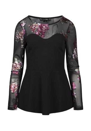 Women's Floral Peplum Top, BLACK, hi-res