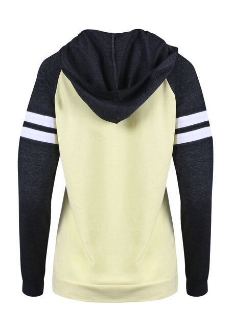 Women's Colour Block Football Hoodie, SOFT YELLOW, hi-res