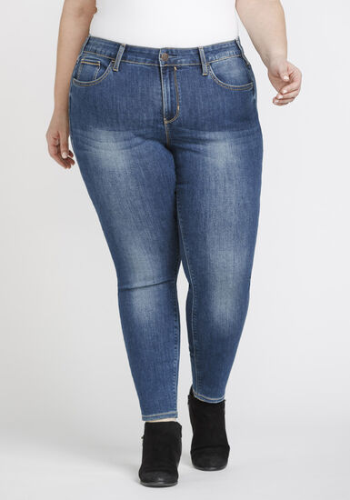Women's Plus Size Med Wash Skinny Jeans, DENIM, hi-res