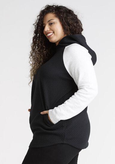 Women's Quilted Popover Hoodie, BLACK, hi-res