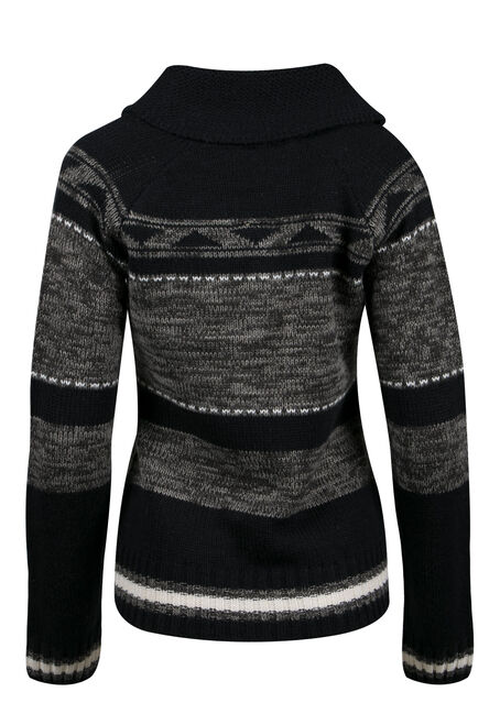 Ladies' Diamond Stripe Nordic Cardigan, CHARCOAL/ BLACK, hi-res