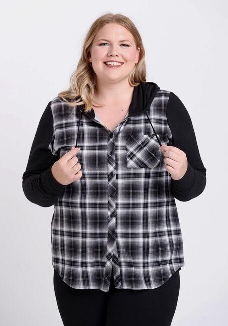 Women's Hooded Plaid Shirt