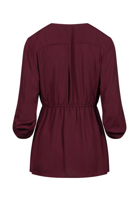 Women's Zip Front Blouse, BURGUNDY, hi-res