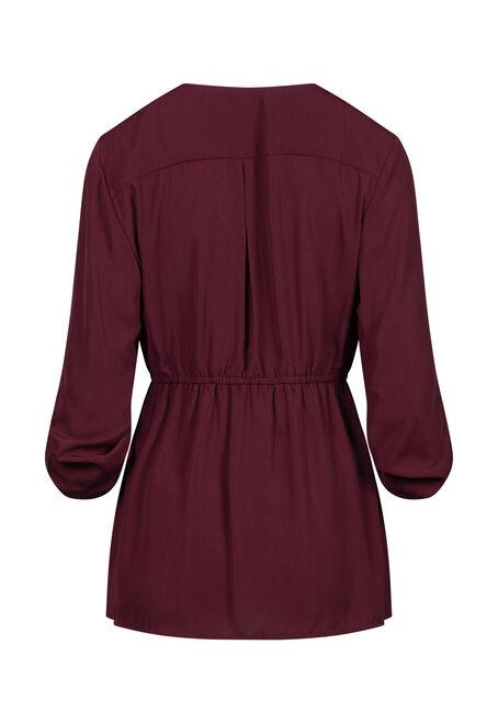 Women's Zip Front Blouse, BURGUNDY, hi-res