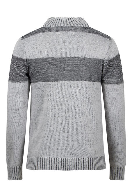 Men's 1/4 Zip Striped Sweater, GREY, hi-res