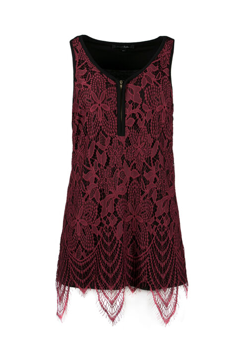 Ladies' Lace Overlay Tank, PORT, hi-res