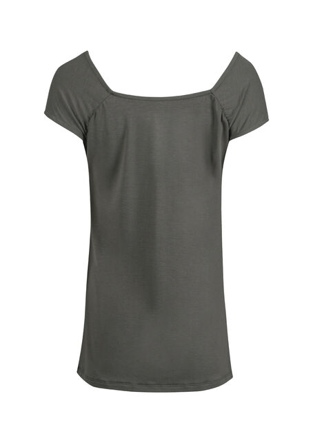 Ladies' Ruched V-neck Tee, BASIL, hi-res