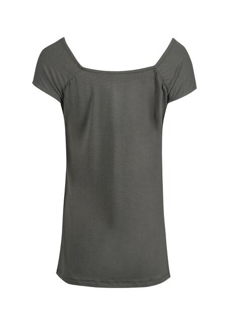 Women's Ruched V-neck Tee, BASIL, hi-res