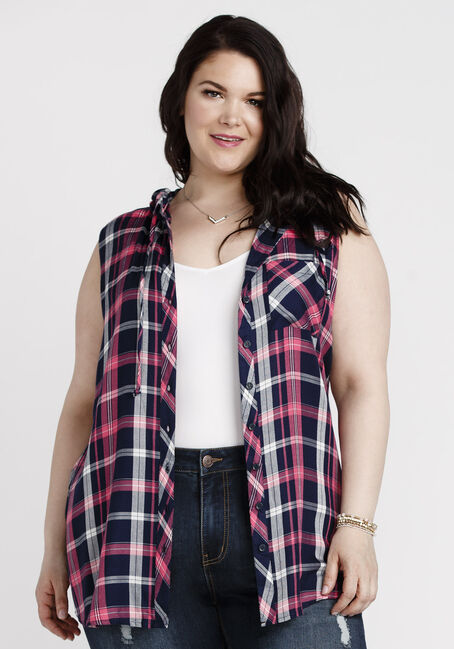 Women's Hooded Knit Plaid Shirt, NAVY, hi-res