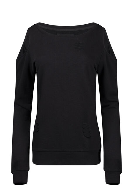 Women's Distressed Cold Shoulder Crew Neck Fleece