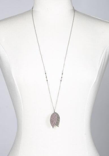 Women's Filigree Leaf Necklace, RHODIUM, hi-res
