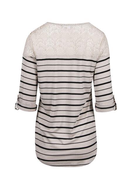 Ladies' Crochet Stripe Top, IVORY/BLK, hi-res