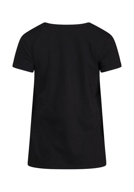 Women's Cuffed V-Neck Tee, BLACK, hi-res