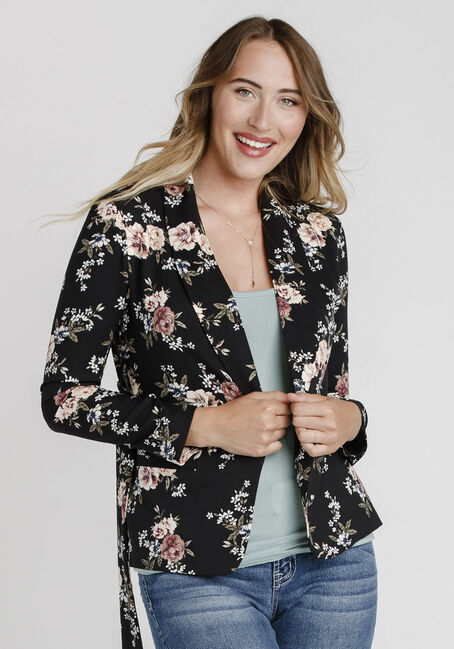 Women's Floral Blazer, BLACK, hi-res