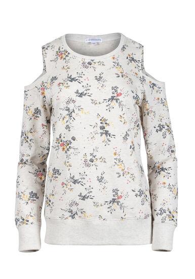Women's Floral Blossom Cold Shoulder Fleece, HEATHER GREY, hi-res